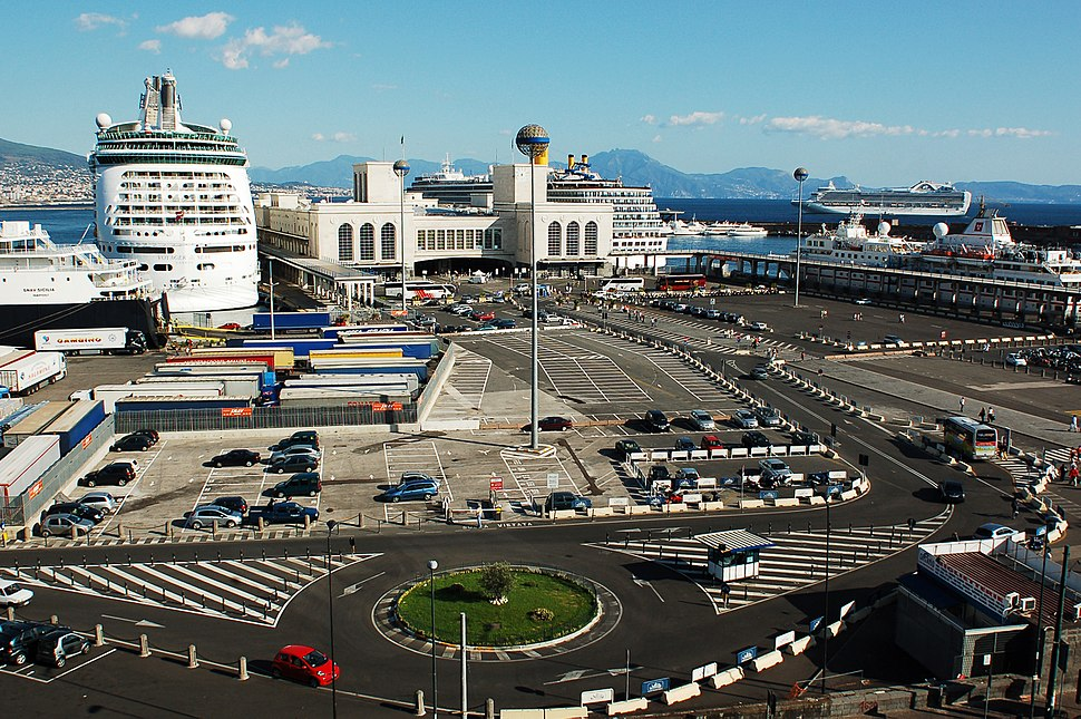 View of the Port of Naples (Maritime Station front view) Naples, Campania, Italy, South Europe