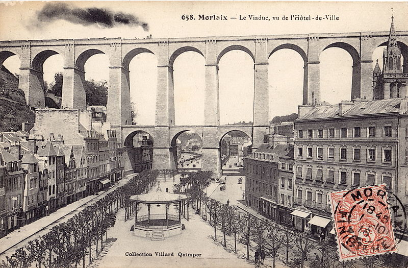Fichier:Villard - MORLAIX - Le Viaduc, vu de l'Hotel-de-Ville.jpg