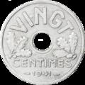 Vingt centimes état français 1941 revers.png