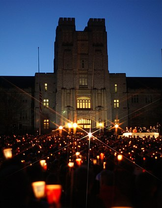 Virginia Tech shooting - The candlelight vigil on the night of April 17,  taken in front of Burruss Hall