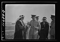 Visit to Beersheba Agricultural Station (Experimental) by Brig. Gen. Allen & staff & talks to Bedouin sheiks of district by station superintendent. Gen. Allan asking questions about this LOC matpc.20542.jpg
