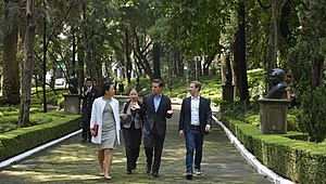 Los Pinos - Mark Zuckerberg and Priscilla Chan in the gardens of Los Pinos during a visit in September 2014.