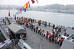 Visitors Queue on ROCN Si Ning (PFG-1203) Flight Deck 20150316.jpg