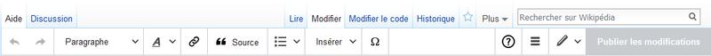 Copie d'écran de la barre d'outils de l'ÉditeurVisuel