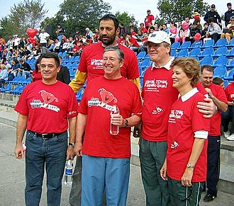 Vlade Divac - Vlade Divac (rear, center) alongside Crown Prince Alexander II in 2005, at an event for World Heart Day