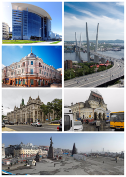 Clockwise from top: view of Vladivostok and the Golden Horn Bay, Russky Bridge, Zolotoy Bridge, Far Eastern Federal University, Square of the Fighters for Soviet Power in the Far East, GUM Department Store , Vladivostok terminus of the Trans-Siberian Railway, Arseniev State Museum, Primorye Oceanarium