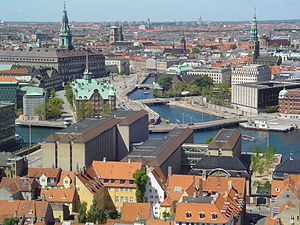 Ministry of Foreign Affairs (Denmark) - The ministry, as seen from Vor Frelsers Kirke in downtown Copenhagen