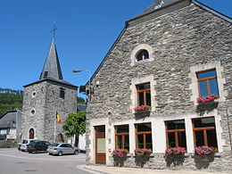 Vresse-sur-Semois, St Lambert's church and the town hall.