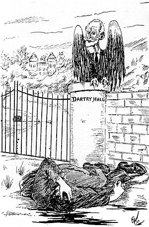 Dublin lock-out - Cartoon of William M. Murphy preying over Jim Larkin.