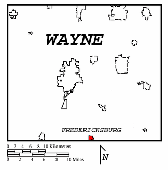 Fredericksburg, Ohio - Image: WAYNE COUNTY MAP2