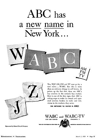 WABC (AM) - 1953 advertisement announcing the call letter change from WJZ to WABC.