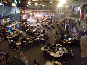 Newsroom - The newsroom of a broadcast television station, WTVJ, Miami, Florida