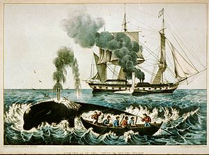 Whaling in the United States - New England whaling ca. 1860:Whale Fishery -- Attacking a Right Whale, by Currier & Ives