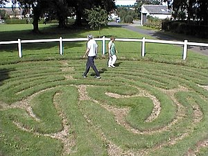 Turf maze - Walking the turf maze at Wing, Rutland