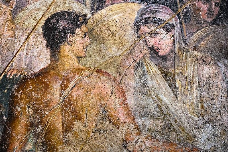 File:Wall painting - Briseis taken away from Achilles - Pompeii (VI 8 5) - Napoli MAN 9105 - 03.jpg