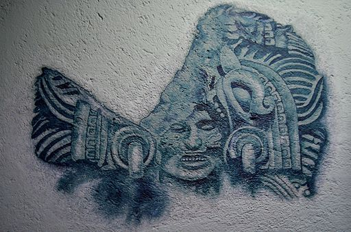 Wall painting of the aztec God Quetzalcoatl