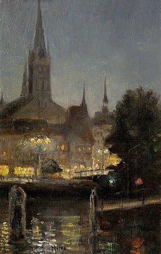 Walter Moras - Image: Walter Moras Nächtliche Lübecker Stadtansicht