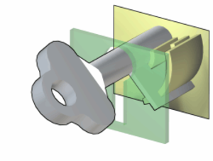 Warded lock - The notches in the key align with the obstructions, or wards, allowing it to rotate freely. In rotating, the key may then activate a lever or sliding bolt to open the lock.