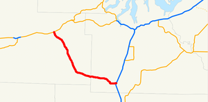 Washington State Route 8 - A map showing SR 8 in 1964, when the highway went from Elma to Grand Mound.