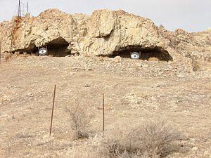 """Delle, Utah - Interesting """"artwork"""" watching over I-80 at Delle, November 2007"""