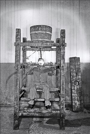 Torture and the United States - Water torture in Sing Sing, New York, 1890.