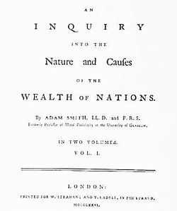 Édition de Londres (1776) de la Richesse des nations