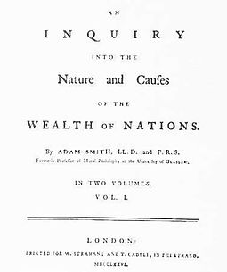 The first page of The Wealth of Nations, 1776 London edition Wealth of Nations.jpg