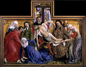 The Descent from the Cross (van der Weyden) - The Descent from the Cross c. 1435. Oil on oak panel, 220cm × 262 cm. Museo del Prado, Madrid