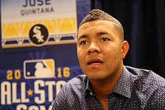 White Sox pitcher Jose Quintana talks to reporters at 2016 All-Star Game availability. (28393834022).jpg
