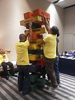 Wikimania 2015-Wednesday-Volunteers play Weasel-Jenga (32).jpg