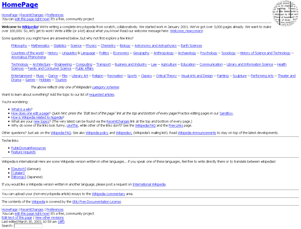 WikipediaHomePage30March2001