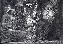 I tormentatori di Giobbe, illustrazione di Blake, 1785-1790