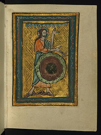 Tohu wa-bohu - Folio from William de Brailes Ms. W.106 (c. AD 1250). On the first day of Creation, God created heaven and earth, and the earth was tohu wa-bohu (without form and void). The Holy Spirit moved across the face of the primaeval waters (abzu), and we see God himself gesturing to the Spirit with his right hand. God raises his left hand to the waters above him, which he separated from the firmament, beneath his feet, on the second day.