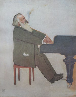 Piano Concerto No. 2 (Brahms) - The composer at the piano, by Willy von Beckerath