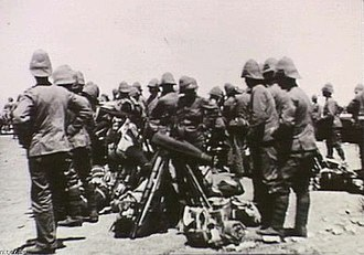 Wiltshire Regiment - Men of the 2nd Wiltshire Regiment and Tasmanian Imperial Force along the Orange River c. 1900.