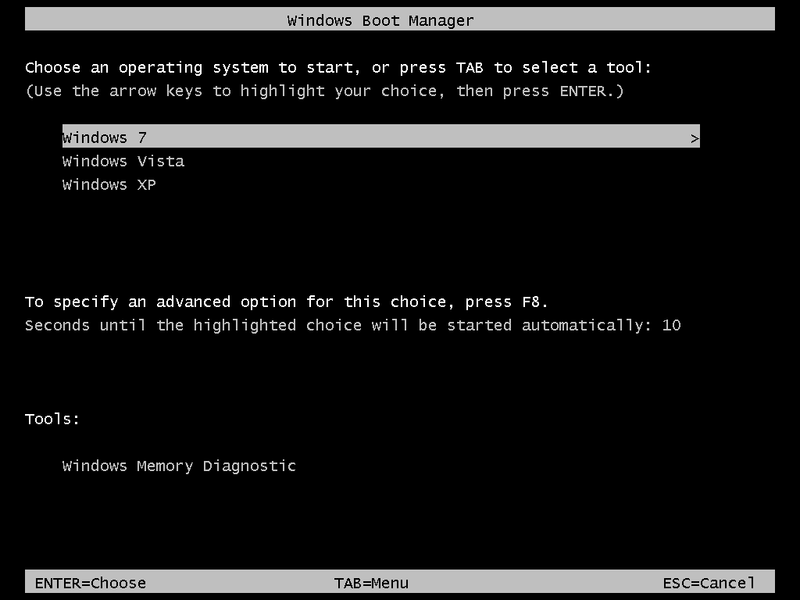 Windows Boot Manager with Windows 7,Vista and XP