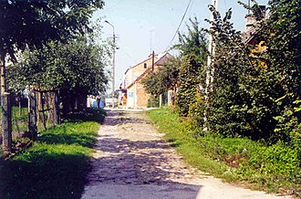 Wizna - Street in Wizna where the synagogue, Cheder and the Tarbut Hebrew school were located before the Holocaust