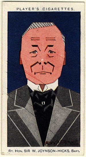 William Joynson-Hicks, 1st Viscount Brentford - Cigarette card, 1926.