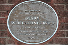 Brown plaque for Wollstonecraft at her final home, in Camden