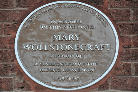 Plaque on Oakshott Court, near the site of her final home, The Polygon, Somers Town, London Wollstonecraft2.JPG
