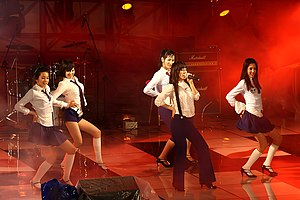"Wonder Girls - Wonder Girls performing ""Irony"" at Hanyang University in March 2007. From left to right: Sohee, Hyuna, Yeeun, Sunye and Sunmi"