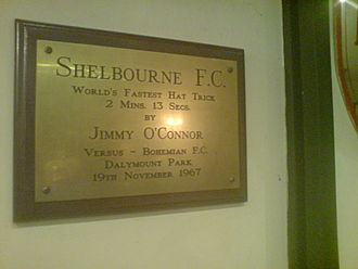 Shelbourne F.C. - The commemorative plaque in Tolka Park, detailing the quickest hattrick ever, as scored by Jimmy O'Connor on 19 November 1967.