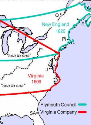 "Plymouth Council for New England - The ""sea to sea"" grant of Plymouth Council for New England is shown in green. The location of the Plymouth Colony settlement is demarcated as ""Pl"""