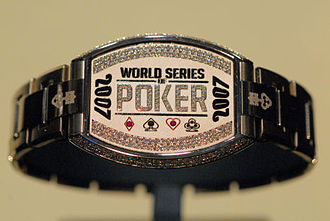 World Series of Poker bracelet - 2007 World Series of Poker Championship Bracelet Made of 136 grams of white gold, and 120 diamonds. Winner: Jerry Yang