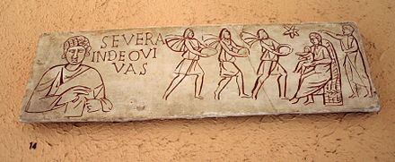 Incised sarcophagus slab with the Adoration of the Magi from the Catacombs of Rome, 3rd century. Plaster cast with added colour. XV14 - Roma, Museo civilta romana - Adorazione dei Magi - sec III dC - Foto Giovanni Dall'Orto 12-Apr-2008.jpg