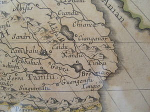 Shangdu - Shangdu (here spelled Ciandu, as Marco Polo spelled it) on the French map of Asia made by Sanson d'Abbeville, geographer of King Louis XIV, dated 1650. It also shows a Xandu east of Cambalu, where English maps placed it. Like some other European maps of the time, this map shows Cambalu and Pequin as two different cities, but they were in fact the same city, now called Beijing. When this map was made, Shangdu had been in ruins for almost three centuries.