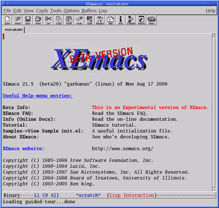 XEmacs Text editor; fork of GNU Emacs