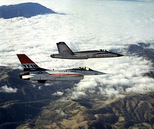 New Fighter Aircraft Project - The original LWF contenders, a YF-16 flies beside a YF-17.
