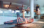 A Canadian Aboriginal wood sculpture, located on the first floor of the domestic terminal.