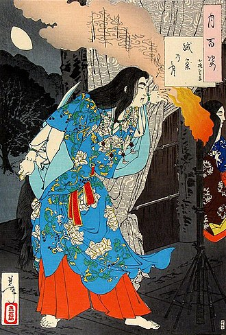 Ninja - Yamato Takeru dressed as a maidservant, preparing to kill the Kumaso leaders. Woodblock print on paper. Yoshitoshi, 1886.